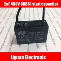 Wholesale Start Motors - Wholesale- 1pcs 2uF 450V start capacitor   fan start capacitor   ceiling fan capacitance   CBB61 motor start capacitor