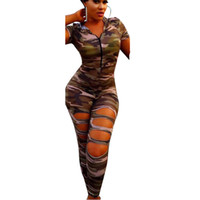 Wholesale Sexy Women Military - Women Sexy Hollow Out Camouflage Jumpsuit Safari Style Short Sleeve Romper Hooded Bodysuit Casual Military Playsuit