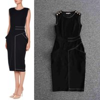 Wholesale B L Vintage - sexy B brand 2017 fashion women's one piece dress brand designer dress classy sleeveless Dresses luxury runway dress black