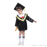 Wholesale Graduation Uniform - Children Halloween Cosplay Costume Kids Graduation Gown Student Uniform Girls Boys Clothes for Party with Hat + Tops Clothing