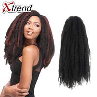 Wholesale Kinky Hair Extensions Sale - Hot Sale 18inch Afro Kinky Curly Twist Marley Braid Hair Extension 100g pack Synthetic Kinky Crochet Hair Jumbo Braid Hair