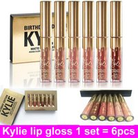 Wholesale Cosmetics Lips - Latest Kylie Jenner Lip gloss Cosmetics Matte Lipstick gold Mini Kit Lipgioss Birthday Limited Edition retail packaging