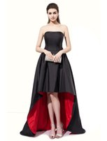 Wholesale High Low Dress Real Sample - Real Samples Strapless Short Front Long Back Evening Gown Black and Red High Low Prom Dresses with Two Pockets for Masquerade