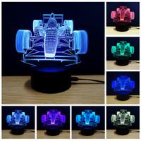 akrilik led yılbaşı ağaçları toptan satış-Usb led gece lambası 3d ışıkları dokunmatik kontrol 7 renkler akrilik lamba 3D moto F1 araba uçak hayvan at futbol kulesi noel ağacı hediye