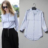 Wholesale Ladies Three Quarter Sleeve Blouses - European korean stand collar three quarter sleeve shirts underwear blouse ladies ol shirt slim women spring tops