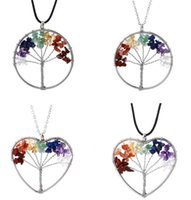 Wholesale imitation christmas trees - New Women Rainbow 7 Chakra Amethyst Tree Of Life Quartz Chips Pendant Necklace Multicolor Wisdom Tree Natural Stone Necklace