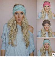 Wholesale Crochet Headband Wigs - 23 Colors Crochet Headband Knit Hairband Flower Winter Women Girls Wrap Ear Warmer Head Wrap Band Hair Accessories