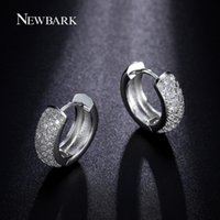 Wholesale newest earrings style - NEWBARK Classical Vintage Round Hoop Earring Newest Style Micro Paved AAA Zircon Earrings Silver Color Luxury Jewelry Brinco q170720