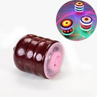 Wholesale Peg Lamp - Boys Girl Fun Toys wood Spinning Top kids toys LED Lamp Light Music Laser Spinner Peg-Top Gyro Classic Spinner Toys Gift free shipping
