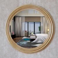 антикварные декоративные зеркала оптовых-Диаметр 68 см ретро золотые декоративные зеркала американский роскошный стиль дома стены декор ванной комнаты телевизор фон зеркала