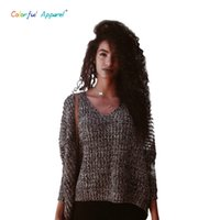 Wholesale Thick Crochet Top - Wholesale-2016 women'ss V-Neck Batwing Sleeve Sweater Oversized Crochet Knitted Pullover Thick Autumn Winter Knitted Tops