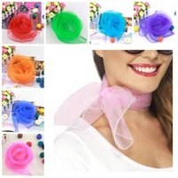 Al por mayor- Senza Fretta Super Light Neck Scarf Mujer Vintage Fancy Chiffon Wrap Hair Head Neck Tie Señora bufandas D02170