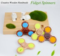 Wholesale Wholesale Wooden Spinning Top - High Speed Wooden Hand Spinners Fidget Spinner Top Quality Triangle Finger Spinning Top Wood Colorful Decompression Fingers Tip Tops Toys