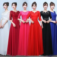 Wholesale Sequin Half Sleeves Tops - 2017 Burgundy Chiffon Bridesmaid Dresses Half Sleeves Western Country Style Long Beach Lace Top Wedding Party Dresses Cheap