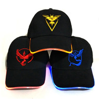 Wholesale Led Baseball Caps Wholesale - LED Light POKE cap beanies poke go Team valor mystic instinct lights baseball caps Christmas Halloween Luminous Holiday Hats Camping Running
