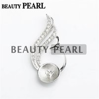 Wholesale 5 Pieces Pearl Pendant Findings Blanks Sterling Silver Pendant DIY Jewelry Make Pearl Mount Setting