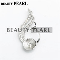 Wholesale Sterling Silver Pendant Blanks - 5 Pieces Pearl Pendant Findings Blanks 925 Sterling Silver Pendant DIY Jewelry Make Pearl Mount Setting