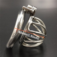 """Wholesale Small Metal Chastity Cages - New Cock Cage Screw Lock Design Stainless Steel Chastity Belt Male Chastity Device Metal Penis Lock 1.5"""" Small Chastity Cage"""