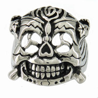 Wholesale Womens Vintage Ring - STAINLESS STEEL punk vintage mens or womens JEWELRY EXPLOSIVE BOMB PROPELLER ROSE BONE THE EXPENDABLES WARRIOR RING 11W33