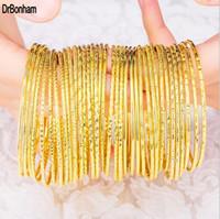 Wholesale 18k Gold Bracelet Thin - Wholesale top gold Brand Jewelry thin 2mm Pulseira Bracelet & Bangle dubai gold wire bangle Bracelet For Women girls 3pcs lot