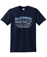 Wholesale Doe Animal - Alcohol Does Not Make You Fat. Makes You Lean Funny BEEFY T SHIRTS