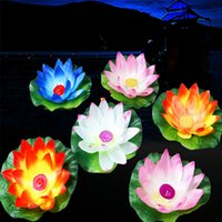 Wholesale Pink Wish Lanterns - Beautiful Floating Water Blessing Silk Lotus Candle Lamp White Red Pink Blue Purple Wishing Lantern for Wedding Event Party Supplies