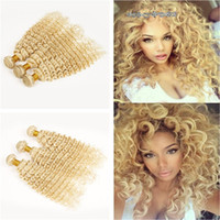 Barato Tecidos Lã Grossista-Cor 613 Blonde Russo Cabelo Humano Weave 9A Deep Wave Hair Bundles Atacado Blonde Deep Curly Hair Weft Extensions Mixed Length 10-30