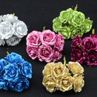 Grossiste-6pcs / lot Sprayed Or BLUELOVER Mini Soie Artificielle Rose Bouquet De Fleurs Multicolor Scrapbooking Stamen Décoration De Mariage