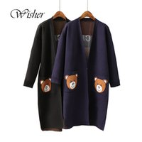 Wholesale Thick Hooded Cardigan Sweater - Wholesale-2016 Fashion Winter Sweater Women Thick Long Cardigan Bear Knitted Women Plus Size Poncho Women Cape Poncho Feminino Inverno