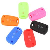 Wholesale Flip Key Kia - 6 Colors 3 Buttons Flip Folding Silicone Key Cover Holder Shell fit for KIA RIO K2 K5 Sportage Sorento AUP_40L