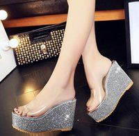 Wholesale Design New Sandal - heeled sandals shoes soft transparent pu summer new design lady women wedge chunky heel sandal slippers