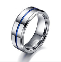 Wholesale Tungsten Steel Blue Rings - Men Rings Fashion Thin Blue Line Tungsten Ring Wedding Brand 8MM Tungsten Carbide Rings for Men Jewelry
