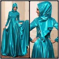 Wholesale Lace Dinner Gowns - Muslim Evening Dresses with Long Sleeves A Line High Neck Vestido De Festa Lace Evening Formal Wear Emerald Dinner Party Gowns