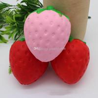 Wholesale pu stuff for sale - Group buy 2017 new Strawberry PU toys cm Squishy fruit Slow rebound Stuffed Animals Squishy toys EMS C2165
