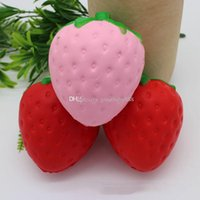 Wholesale Soft Toy Fruits - 2017 new Strawberry PU toys 11.5*9.5cm Squishy fruit Slow rebound Stuffed Animals Squishy toys EMS free shipping C2165