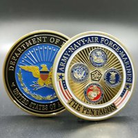 Wholesale Usa Loads - 100 pcs The USA military force 40 mm colored souvenir coin badge free shipping air force medal A merican coin