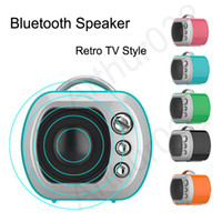 Wholesale Phone Bluetooth Retro - Retro TV Style Bluetooth Speaker Nostalgic Shape Mini Wireless Loudspeakers Support TF Card AUX Portable Stereo Speakers For Phone Tablet
