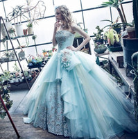 Wholesale Ocean Blue Gowns - 2017 Ocean Blue Strapless Ball Gown Quinceanera Dresses Embroidery Tulle Floor-length Sweet 16 Dresses Vestidos De Quinceanera