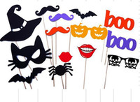 Wholesale funny mustache lips resale online - 14Pcs Set Wedding funny Paper mask Photo Booth Props Party Halloween Pumpkin Gifts Decorations Mustache Hat Lips Animal DIY