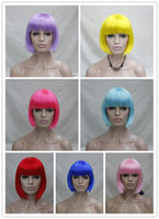 Wholesale New Fashionable Party Wig - 2017 New super Fashionable BOB style straight Cosplay Short Party Wigs 7 colors select Halloween Christmas wig