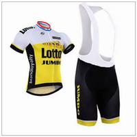 Wholesale jumbo size - 2016 LOTTO JUMBO TEAM YELLOW Short Sleeve Cycling Jersey Bike Bicycle Wear + BIB Shorts Size XS-4XL
