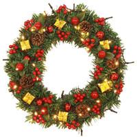 couronne de porte murale achat en gros de-Guirlande De Noël Guirlande Boules Coffrets Cadeaux Décorations Pour La Maison Porte Mur Ornement Navidad Decoraciones