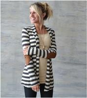 ingrosso cardigan a righe maniche lunghe da donna-2017 maglioni di moda donna cardigan casual a strisce donna autunno stili vestiti maglioni di cotone manica lunga NWY01 RF