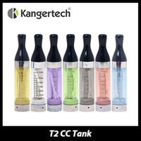 kanger t2 ego temizleyici toptan satış-Toptan Satış - Toptan-5pcs Kanger T2 Uzun Wick CC Clearomizer 2.4ml Tank Kapasitesi 1.8ohm E-Cigs Atomizer eGo Konu Kangertech gelen 7 renkler DAİREMİZ