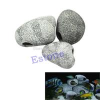 Wholesale Ceramic Ornament - MF Ceramic Aquarium Rock Cave STONES Ornament S M L decoration fish tank FreeShipping-Y102
