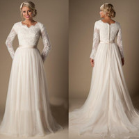 Wholesale Romantic Long Sleeves Wedding - New A Line Wedding Dresses Lace Pregnant Sash Chiffon Long Sleeve Romantic Custom Made Fashion Draped Bridal Gowns Sheer Sweep Train Modest
