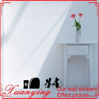 Wholesale Pink Valentine Heart Lights - MOUSE Amour Love Heart funny wall decal vinyl stickers Valentines decor Art Deco