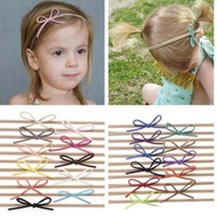 Wholesale Girls Hair Simple Headbands - Fashion Baby Nylon Elastic Headbands Bow Kids Girls DIY Bowknot Hairbands Children Hair Accessories Simple cute headwear 22 Color