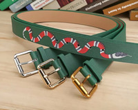 Wholesale womens fashion wide belts - 2018 New green black color Luxury High Quality Designer Belts Fashion snake animal pattern buckle belt mens womens belt for gift