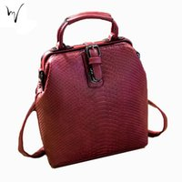 New Women Doctor Shell Pack Vintage Trunk Button Hasp Mochila de couro macio Daily Solid Stroke Valentine Large Factory Wholesale Bag